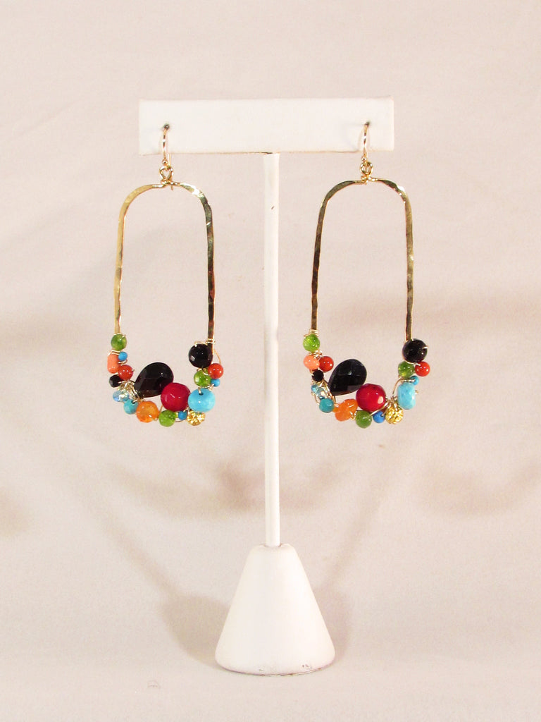 Multi-gemstone Gravity Earring