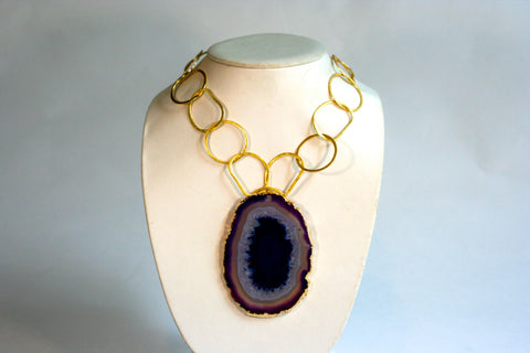 Agate Mineral Slice Necklace