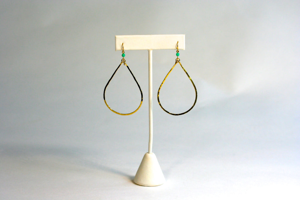 Gold Seastone Teardrop Earrings