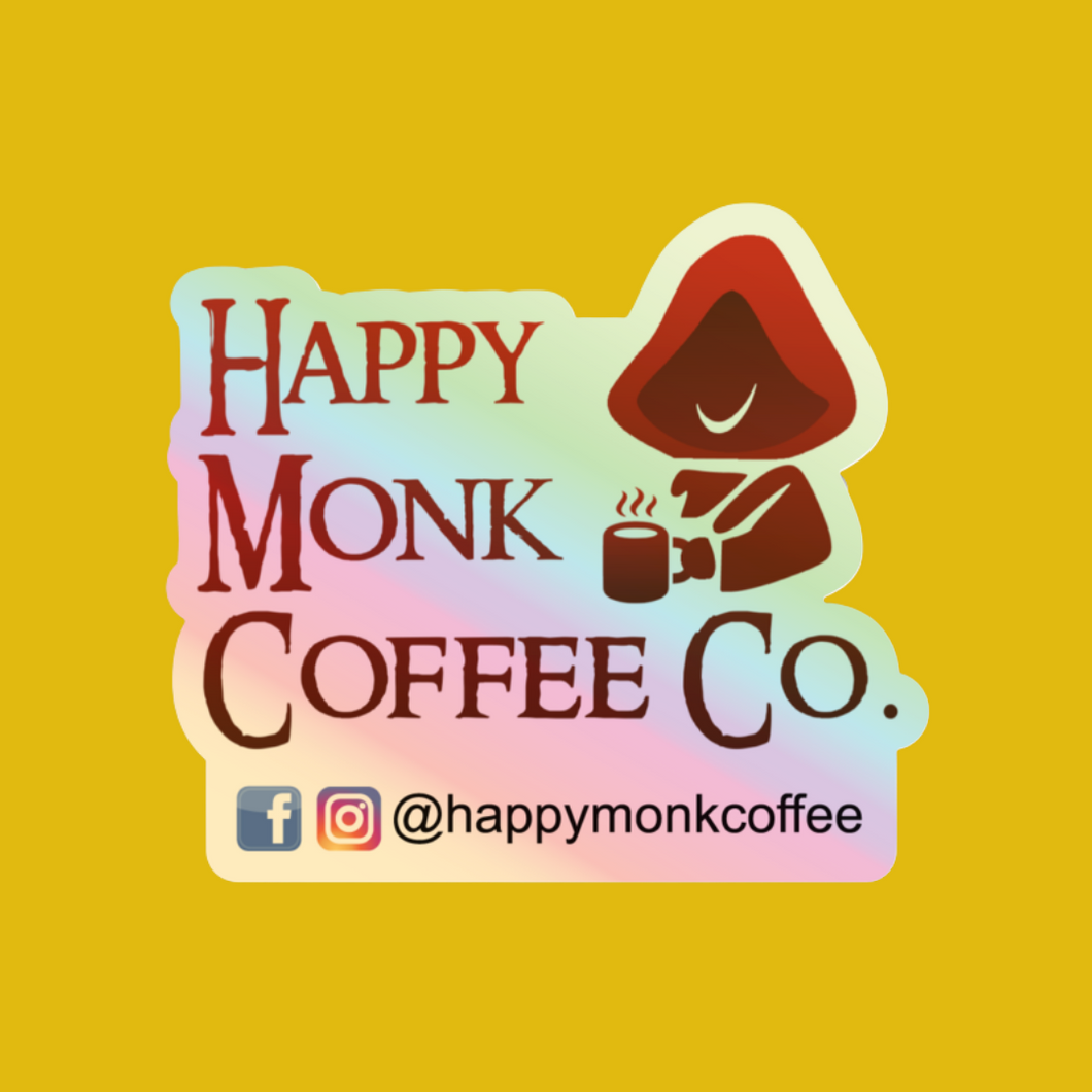 Happy Monk Coffee Sticker - Hologram