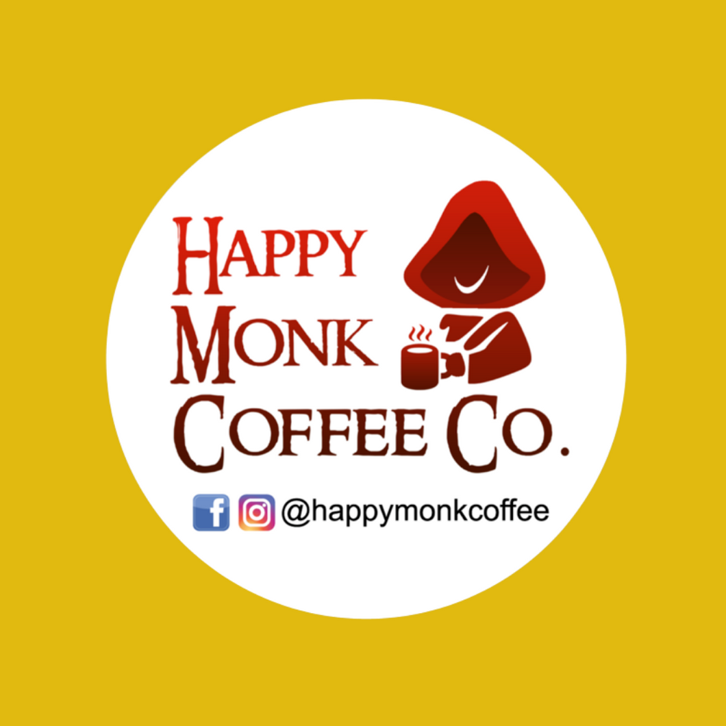 Happy Monk Coffee Sticker - Round