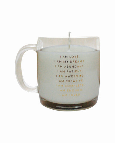 I Am Affirmation - Glass Mug with Candle