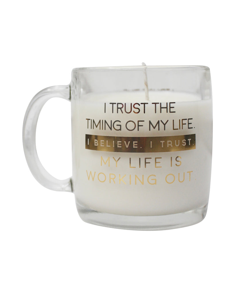 Life Works Out - Glass Mug with Candle