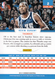 Kevin Durant 2012 2013 Panini Marquee Basketball Series Mint Card #2