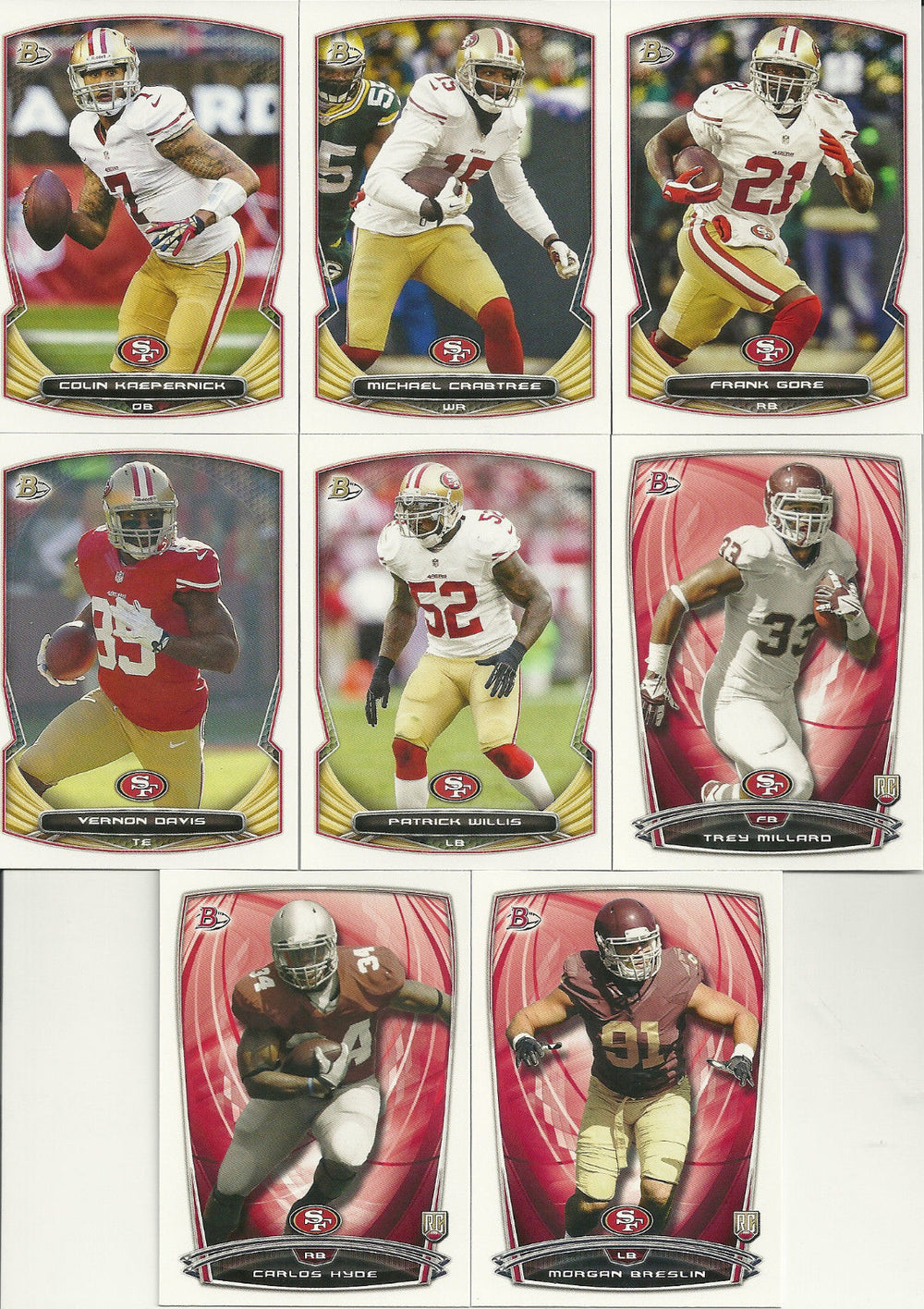 San Francisco 49ers 2014 Bowman 8 Card Team Set with Colin Kaepernick and Frank Gore Plus