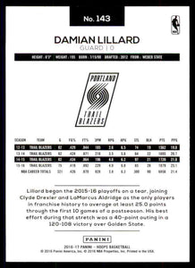 Damian Lillard 2016 2017 Hoops Series Mint Card #143