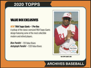 2020 Topps ARCHIVES Baseball Blaster Box with Exclusive 1964 Giants Oversized Card