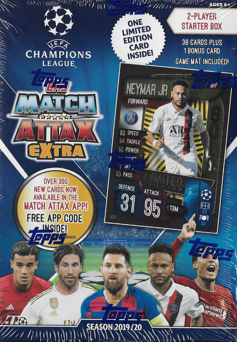 2019 2020 Topps Match Attax UEFA EXTRA Edition Starter Box with Limited Edition Neymar Jr. GOLD Card #LE1G