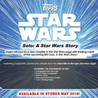 Topps STAR WARS SOLO Series Blaster Box of Packs with Commemorative PATCH Disney