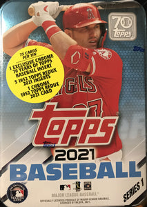 2021 Topps Baseball Series One Factory Sealed 75 Card TIN with Mike Trout pictured