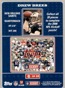 Drew Brees 2008 Topps Kickoff Puzzle Football Series Mint Card #6