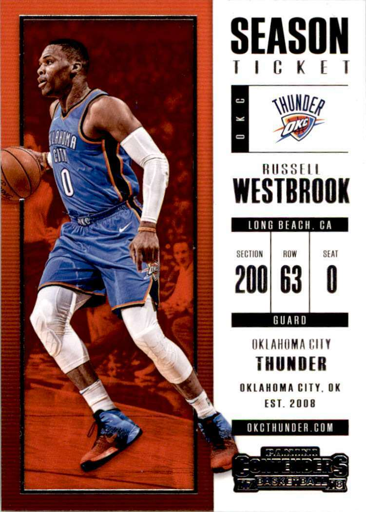Russell Westbrook 2017 2018 Panini Contenders Season Ticket Series Mint Card #51