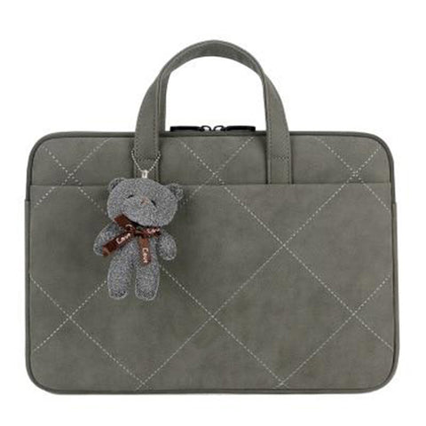 sacoche gris velours ours peluche