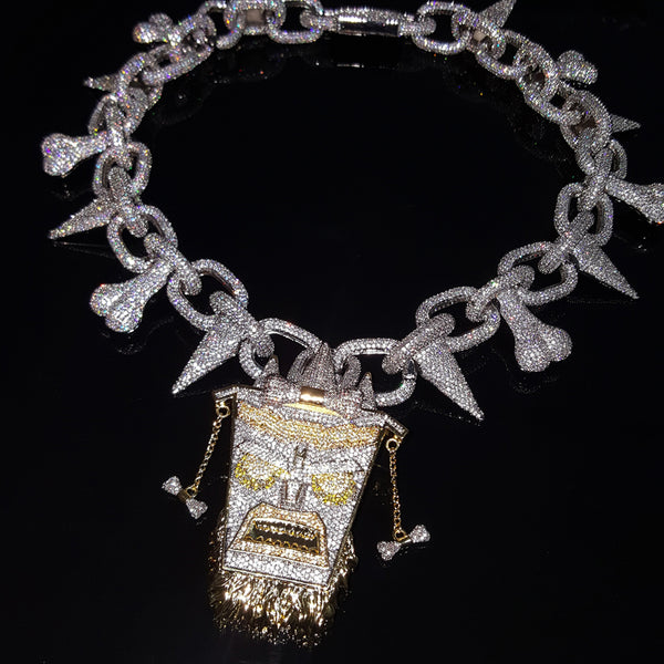 Iced out TIKI pendant + Bone Chain