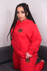 Rotm Red Sweatsuit With Black, Red, and Yellow Logo