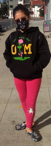 Rotm Black Letterman Hoodie With Yellow & Pink Logo