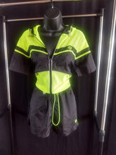 Load image into Gallery viewer, Rotm Black and Neon Yellow Swishy Zig-Zag Two-Piece Outfit