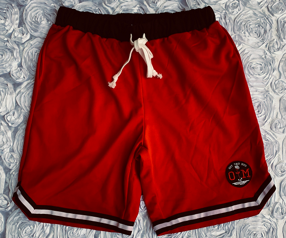 Rotm Black, Red, and White Basketball Shorts