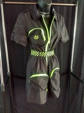 Load image into Gallery viewer, Rotm Black and Neon Yellow Swishy Love Belt One-Piece Jumpsuit