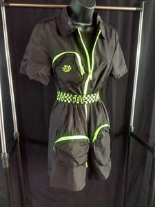 Rotm Black and Neon Yellow Swishy Love Belt One-Piece Jumpsuit
