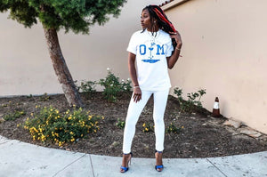 Rotm White & Royal blue t- shirt