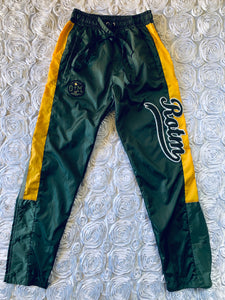Rotm Green, Yellow And Gray Swishy Track Suit.