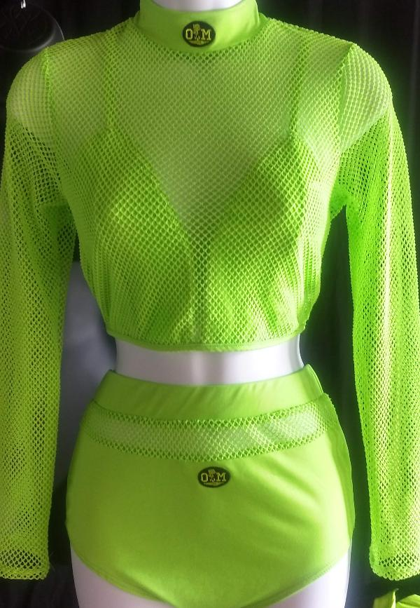 Rotm Neon Green Mesh Two-Piece Bathing Suit