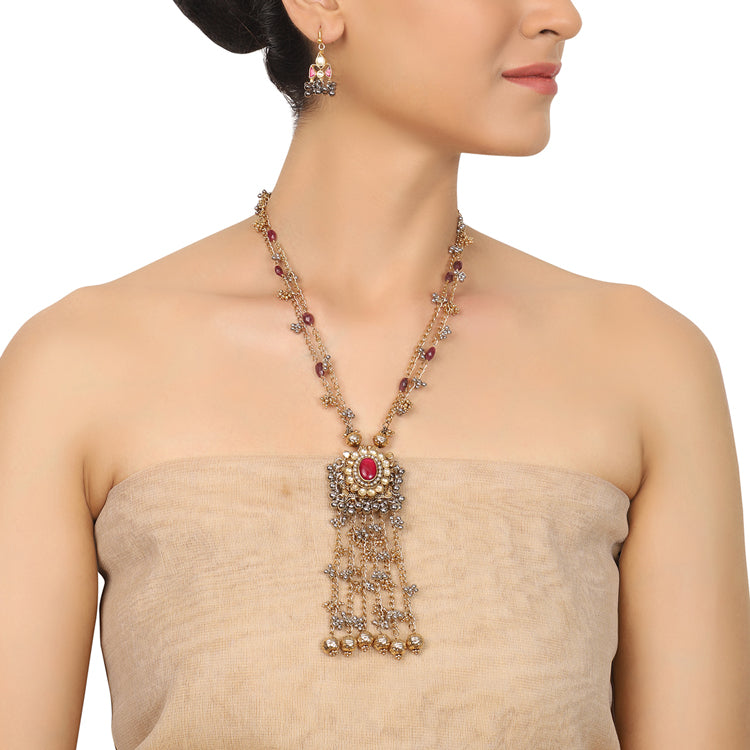 Gold & Silver Plated Mishran Kundan Tassel Necklace Set