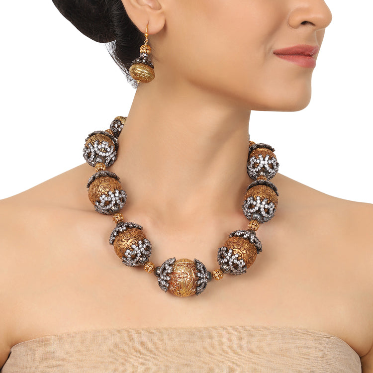 Gold & Silver Plated Mishran Carved Ball Necklace Set