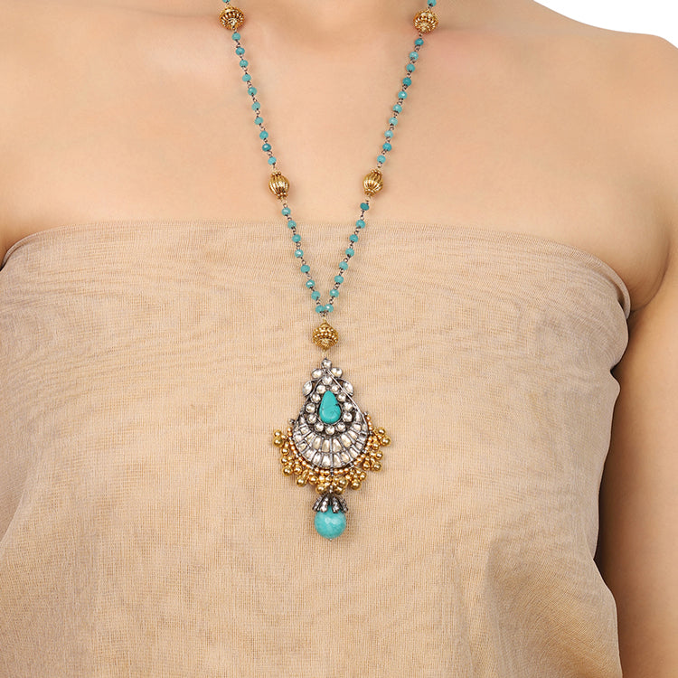 Gold & Silver Plated Mishran Kundan Pendant Necklace