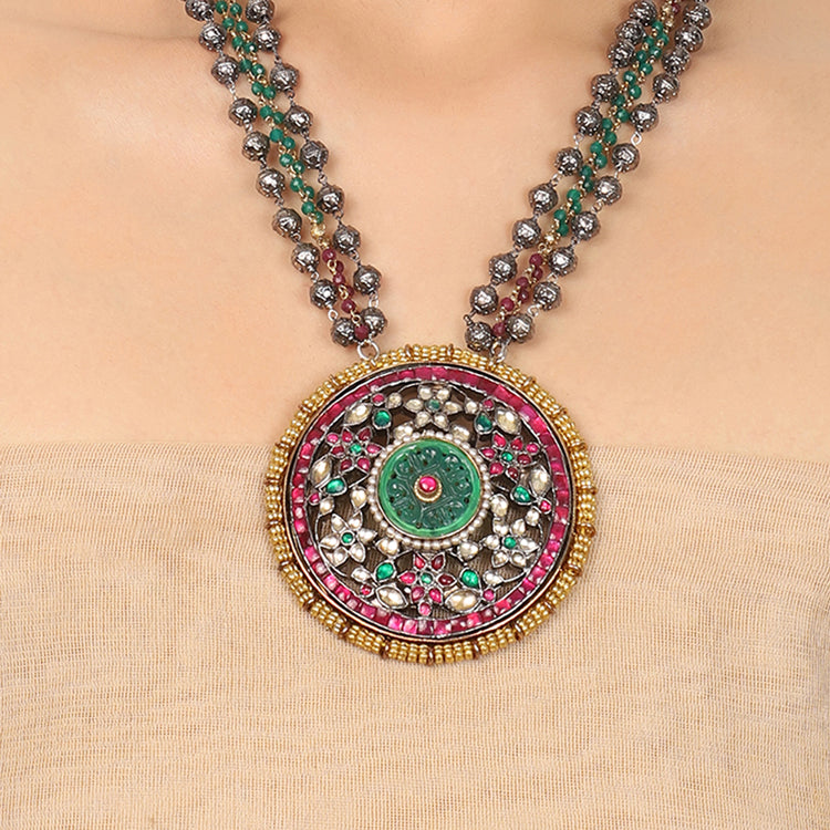 Gold & Silver Plated Mishran Red & Green Kundan Necklace