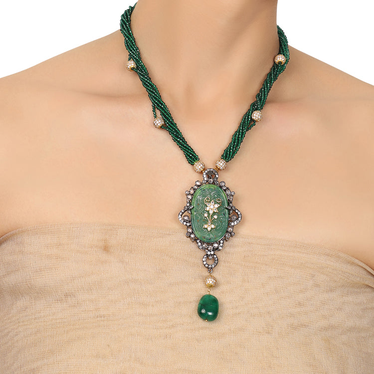 Gold & Silver Plated Mishran Signature Carved Green Onyx Necklace Set