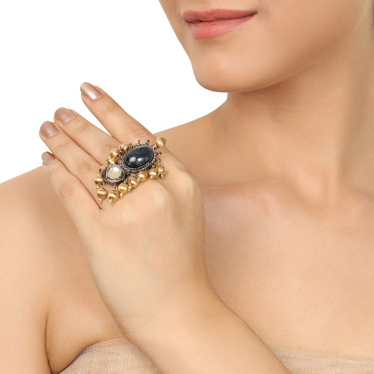 Gold & Silver Plated Mishran Kundan Ring