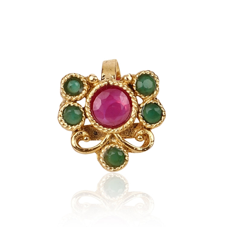 GOLD PLATED SARGAM RED GREEN STUDDED NOSE PIN