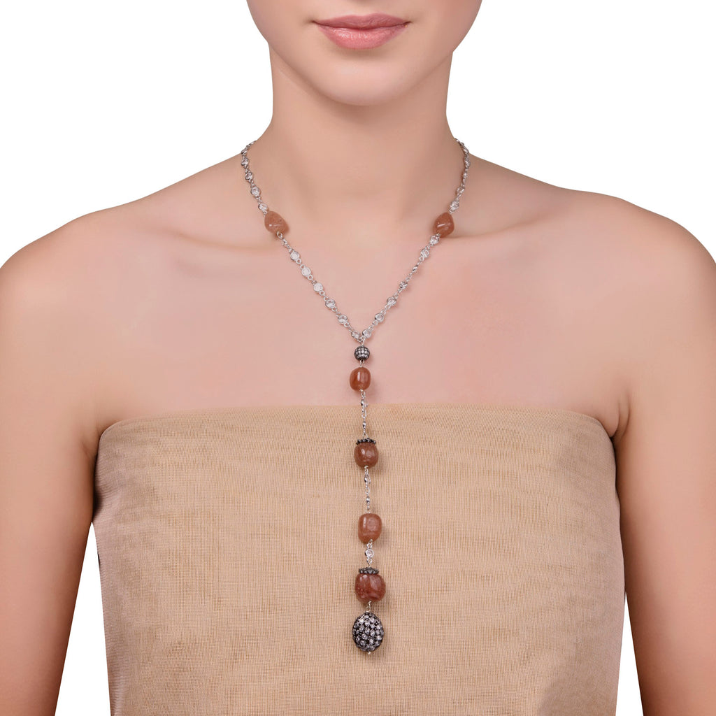 SMOKEY LARIAT NECKLACE