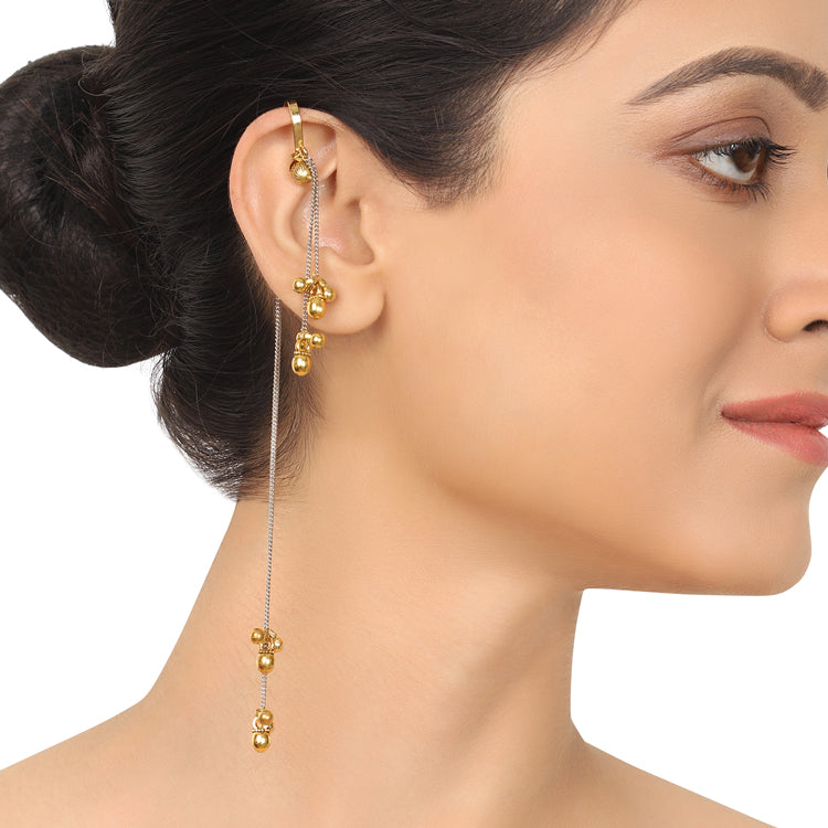 Gold & Silver Plated Mishran Bugadi Tassel Earrings