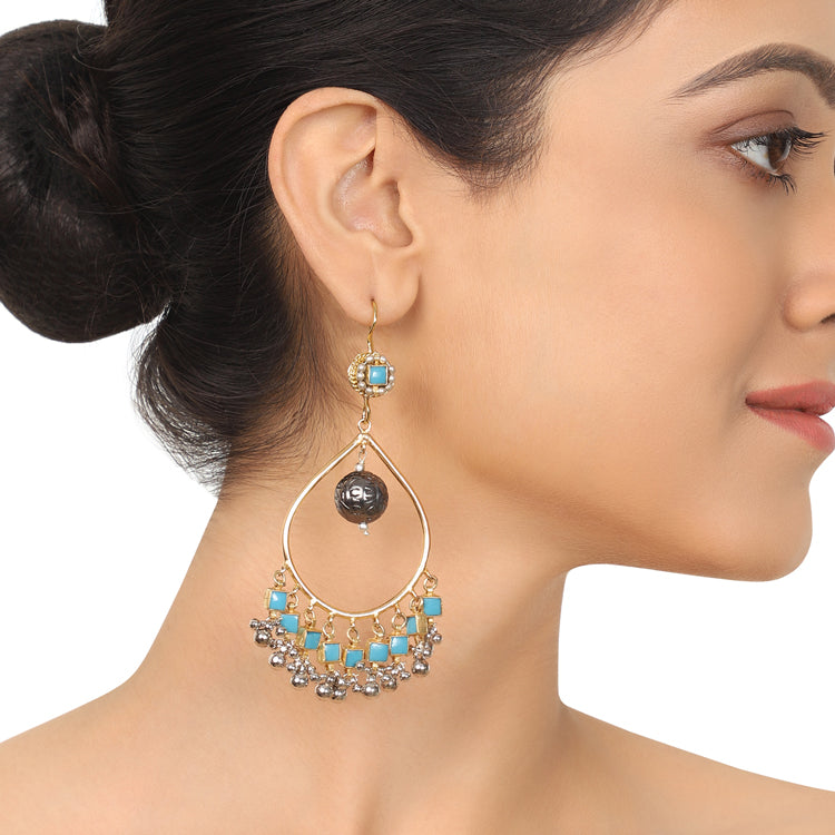 Gold & Silver Plated Mishran Kundan  Turquoise Chandbali Earrings
