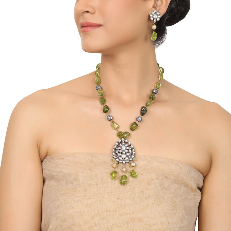 Gold & Silver Plated Mishran Peridot with Kundan Necklace Set