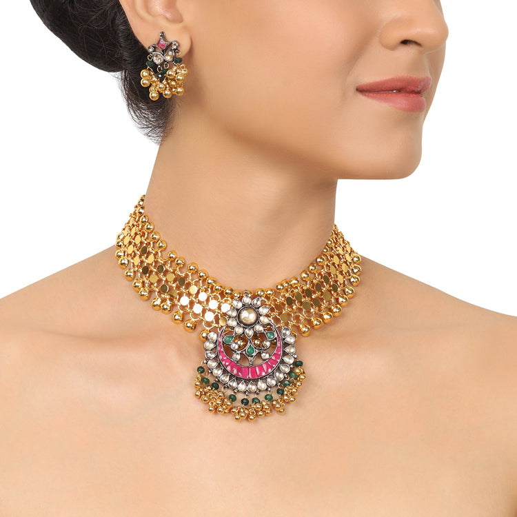 Gold & Silver Plated Mishran Red & Green Kundan Fret  Choker Set