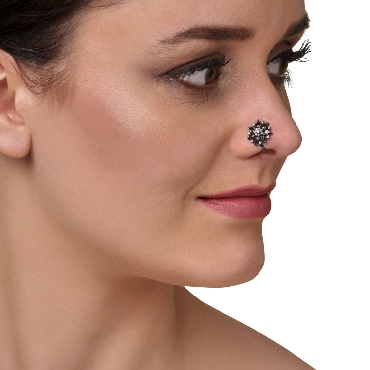 SILVER PLATED SARGAM BLACK STUDDED NOSE PIN
