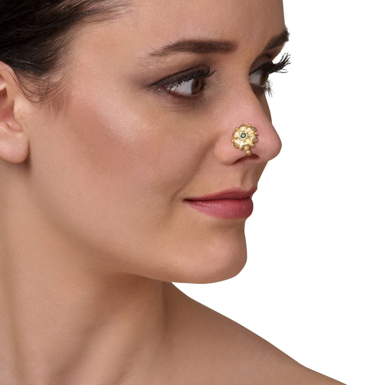 GOLD PLATED SARGAM GREEN STUDDED NOSE PIN