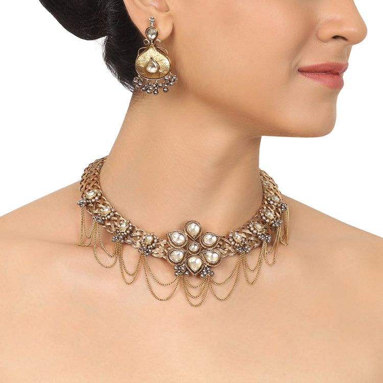 Gold & Silver Plated Mishran Kundan Wicker Necklace Set