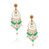 GOLD PLATED SHRUTIPAT RED GREEN KUNDAN HOOP EARRINGS