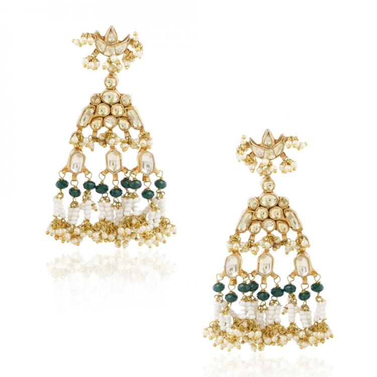 GOLD PLATED SHRUTIPAT KUNDAN EARRINGS