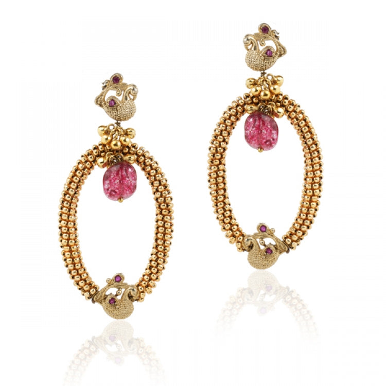 GOLD PLATED TEMPLE PEACOCK PINK EARRINGS