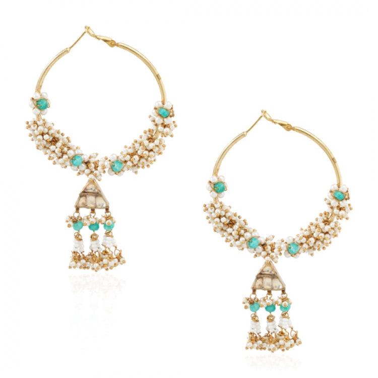 GOLD PLATED TEEJ KUNDAN HOOP EARRINGS