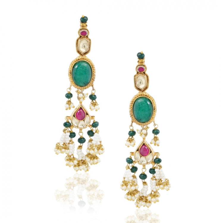 GOLD PLATED TEEJ GREEN RED KUNDAN EARRINGS