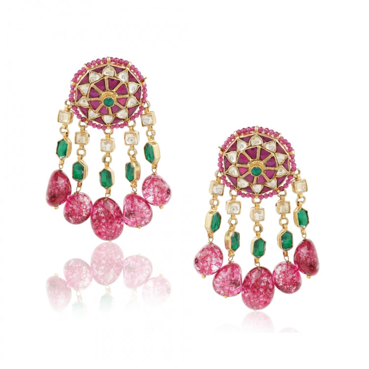 GOLD PLATED SHRUTIPAT RED KUNDAN  EARRINGS