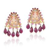 GOLD PLATED TEMPLE GANESH RUBY EARRINGS