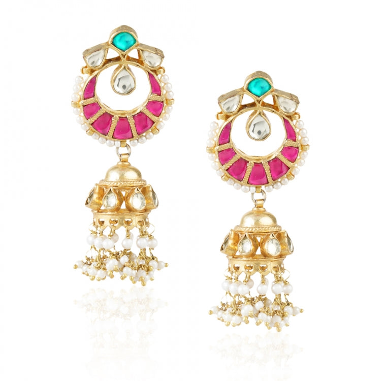 GOLD PLATED SHRUTIPAT RED KUNDAN JHUMKI EARRINGS